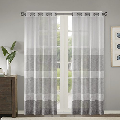 Madison Park Hayden Striped Sheer Woven Faux Linen Curtains For Bedroom Modern Contemporary Living Room With Grommet 1 Farmhouse Goals