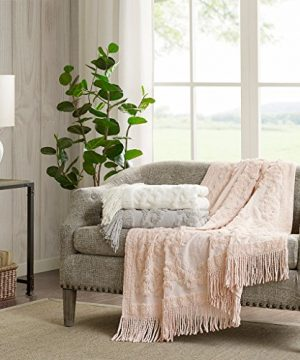 Madison Park Chloe 100 Cotton Tufted Chenille Design With Fringe Tassel Luxury Elegant Chic Throw Blanket For Couch Bed 50X60 Inches Blush 0 0 300x360