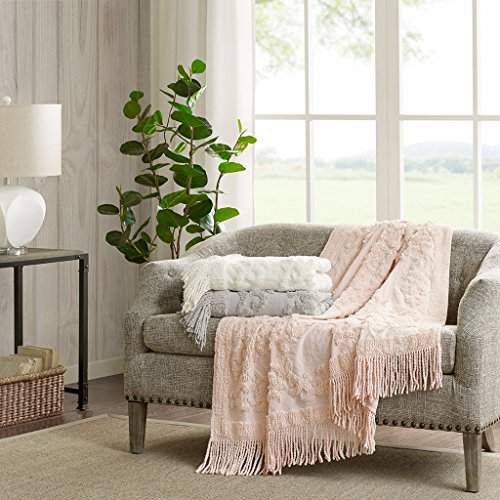 Madison Park Chloe 100 Cotton Tufted Chenille Design With Fringe Tassel Luxury Elegant Chic Throw Blanket For Couch Bed 50X60 Inches Blush 0 0