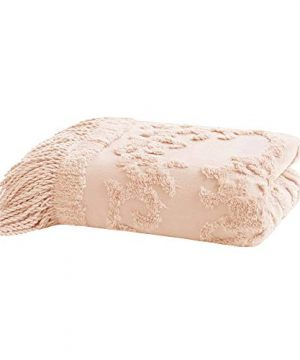 Madison Park Chloe 100 Cotton Tufted Chenille Design With Fringe Tassel Luxury Elegant Chic Throw Blanket For Couch Bed 50X60 Inches Blush 0 2 300x360
