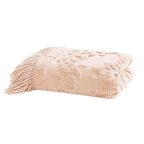 Madison Park Chloe 100 Cotton Tufted Chenille Design With Fringe Tassel Luxury Elegant Chic Throw Blanket For Couch Bed 50X60 Inches Blush 0 2
