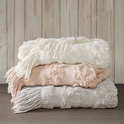 Madison Park Chloe 100 Cotton Tufted Chenille Design With Fringe Tassel Luxury Elegant Chic Throw Blanket For Couch Bed 50X60 Inches Blush 0