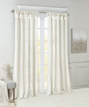 Madison Park Emilia Room Darkening Curtain DIY Twist Tab Window Panel Black Out Drapes For Bedroom And Dorm 50x108 White 0 0 300x360