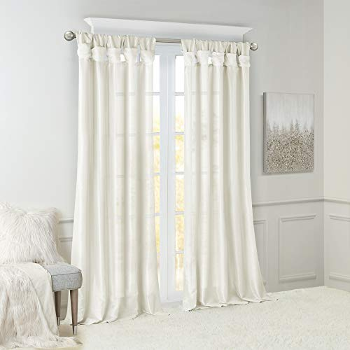 Madison Park Emilia Room Darkening Curtain DIY Twist Tab Window Panel Black Out Drapes For Bedroom And Dorm 50x108 White 0 0