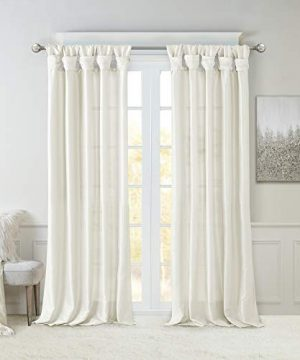 Madison Park Emilia Room Darkening Curtain DIY Twist Tab Window Panel Black Out Drapes For Bedroom And Dorm 50x108 White 0 300x360