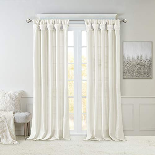Madison Park Emilia Room Darkening Curtain DIY Twist Tab Window Panel Black Out Drapes For Bedroom And Dorm 50x108 White 0