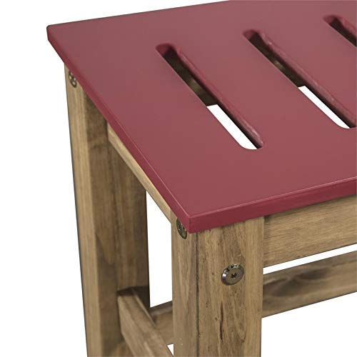 Manhattan Comfort Stillwell Modern Rustic Pine Wood Rectangle Dining Table And Chair Set Red 0 1
