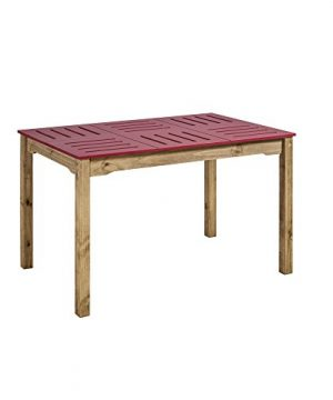 Manhattan Comfort Stillwell Modern Rustic Pine Wood Rectangle Dining Table And Chair Set Red 0 2 300x360