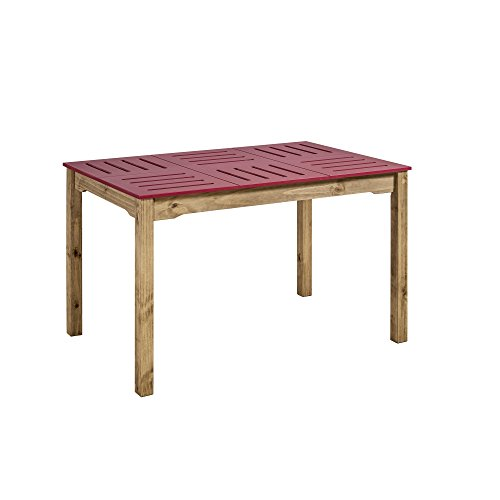Manhattan Comfort Stillwell Modern Rustic Pine Wood Rectangle Dining Table And Chair Set Red 0 2