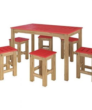 Manhattan Comfort Stillwell Modern Rustic Pine Wood Rectangle Dining Table And Chair Set Red 0 300x360