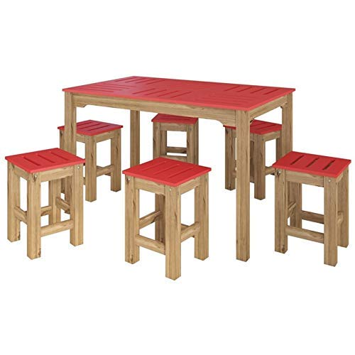 Manhattan Comfort Stillwell Modern Rustic Pine Wood Rectangle Dining Table And Chair Set Red 0