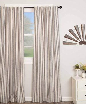 Market Place Blue Ticking Stripe Panel Curtains Set Of 2 84 Long Farmhouse Style Blue Natural Cream Window Drapes 0 300x360