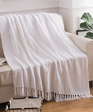 Melody House Super Soft Woven Plaid Pattern Throw Decorative Throw Blanket With Tassels 50x60 Bright White 0 0 300x360
