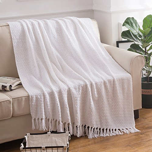 Melody House Super Soft Woven Plaid Pattern Throw Decorative Throw Blanket With Tassels 50x60 Bright White 0 0