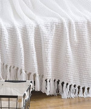 Melody House Super Soft Woven Plaid Pattern Throw Decorative Throw Blanket With Tassels 50x60 Bright White 0 1 300x360