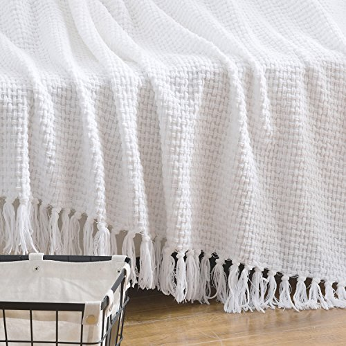 Melody House Super Soft Woven Plaid Pattern Throw Decorative Throw Blanket With Tassels 50x60 Bright White 0 1