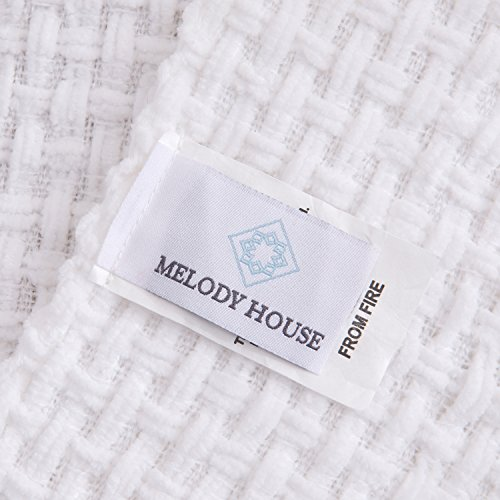 Melody House Super Soft Woven Plaid Pattern Throw Decorative Throw Blanket With Tassels 50x60 Bright White 0 2