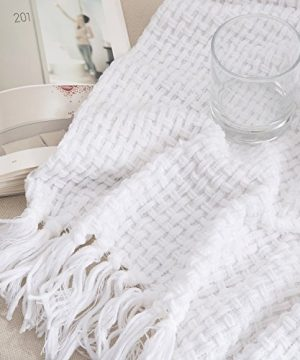 Melody House Super Soft Woven Plaid Pattern Throw Decorative Throw Blanket With Tassels 50x60 Bright White 0 3 300x360
