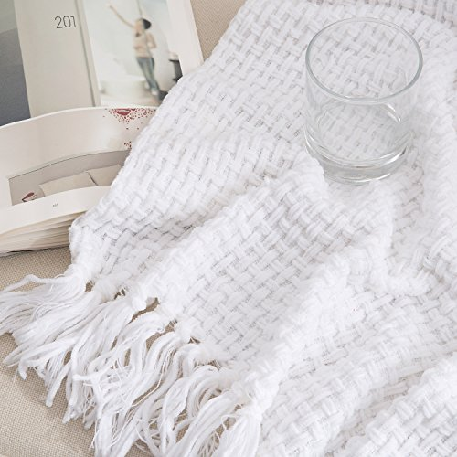 Melody House Super Soft Woven Plaid Pattern Throw Decorative Throw Blanket With Tassels 50x60 Bright White 0 3