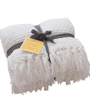 Melody House Super Soft Woven Plaid Pattern Throw Decorative Throw Blanket With Tassels 50x60 Bright White 0 300x360