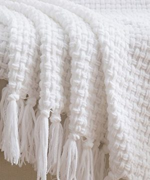Melody House Super Soft Woven Plaid Pattern Throw Decorative Throw Blanket With Tassels 50x60 Bright White 0 4 300x360