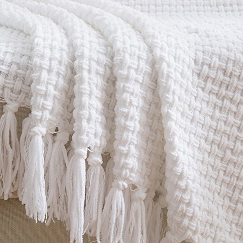 Melody House Super Soft Woven Plaid Pattern Throw Decorative Throw Blanket With Tassels 50x60 Bright White 0 4