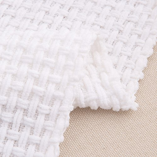 Melody House Super Soft Woven Plaid Pattern Throw Decorative Throw Blanket With Tassels 50x60 Bright White 0 5