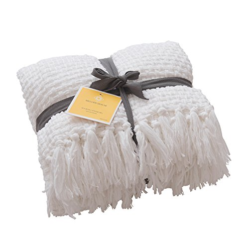 Melody House Super Soft Woven Plaid Pattern Throw Decorative Throw Blanket With Tassels 50x60 Bright White 0