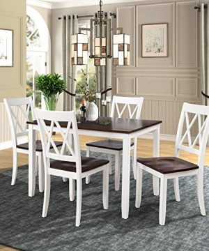Merax Dining Table Set Kitchen Dining Table Set For 4 Wood Table And Chairs Set White Cherry 0 300x360