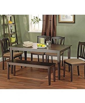 Metropolitan BrownEspresso 6 Piece Dining Set With Table Bench And 4 Chairs For Dining Room Kitchen Or Nook For Meals Dinner Supper Lunch Or Breakfast With Family And Friends Brown 0 300x360