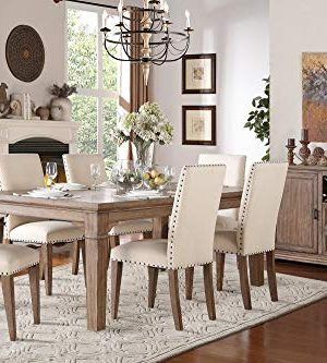 Michlim Rustic Industrial 7PC Dining Set Table 6 Chair In Weathered Grey 0 0 300x333