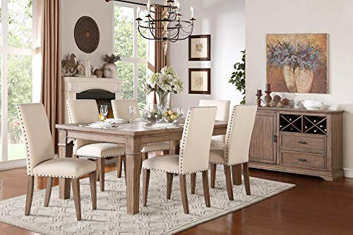 Michlim Rustic Industrial 7PC Dining Set Table 6 Chair In Weathered Grey 0 0