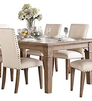 Michlim Rustic Industrial 7PC Dining Set Table 6 Chair In Weathered Grey 0 300x329