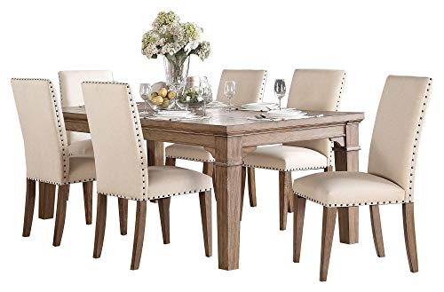Michlim Rustic Industrial 7PC Dining Set Table 6 Chair In Weathered Grey 0