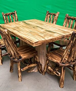 Midwest Log Furniture Premium Log Dining Table 40x60 And 6 Chairs 0 300x360