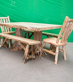 Midwest Log Furniture Rustic Pine Log Dining Table W 2 Chairs 2 Benches 0 300x337