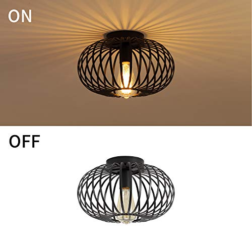 Modern Black Flush Mount Light Fixture Industrial Metal Cage Semi Flush Mount Ceiling Light For Hallway Living Room Farmhouse Goals