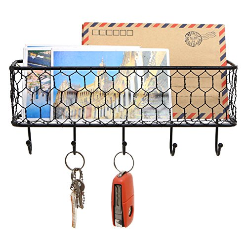 Modern Black Metal Wall Mounted Key And Mail Sorter Storage Rack WChicken Wire Mesh Basket 0 0