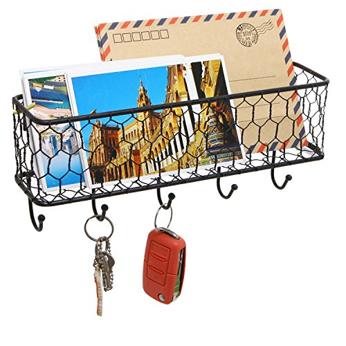 Modern Black Metal Wall Mounted Key And Mail Sorter Storage Rack WChicken Wire Mesh Basket 0 1
