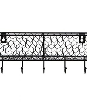 Modern Black Metal Wall Mounted Key And Mail Sorter Storage Rack WChicken Wire Mesh Basket 0 3 300x360