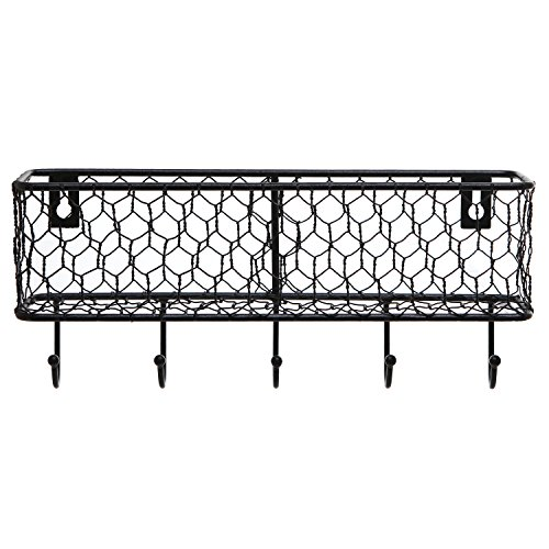Modern Black Metal Wall Mounted Key And Mail Sorter Storage Rack WChicken Wire Mesh Basket 0 3