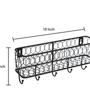 Modern Black Metal Wall Mounted Key And Mail Sorter Storage Rack WChicken Wire Mesh Basket 0 4 300x360