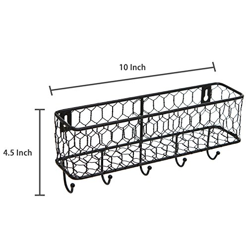 Modern Black Metal Wall Mounted Key And Mail Sorter Storage Rack WChicken Wire Mesh Basket 0 4
