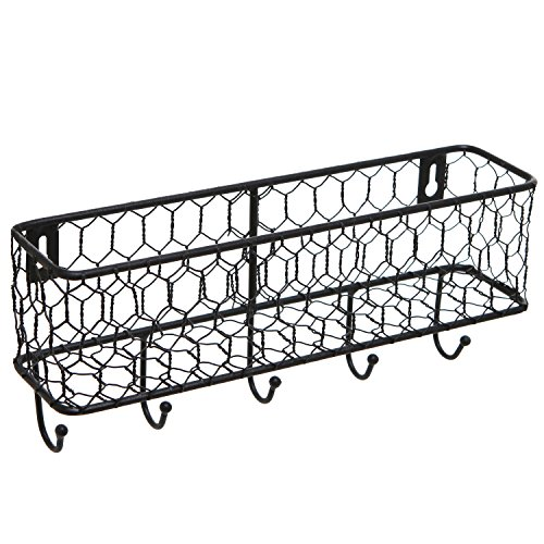 Modern Black Metal Wall Mounted Key And Mail Sorter Storage Rack WChicken Wire Mesh Basket 0