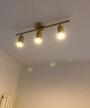 Modo Lighting Adjustable Track Lighting 3 Lights Brushed Brass Flush Mount Ceiling Light Fixture For Kitchen Dining Room 0 2 300x360