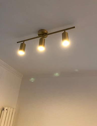 Modo Lighting Adjustable Track Lighting 3 Lights Brushed Brass Flush Mount Ceiling Light Fixture For Kitchen Dining Room 0 2