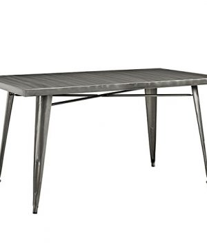 Modway Alacrity Industrial Modern Stainless Steel Metal Dining Table 595 Rectangle Gunmetal 0 300x360