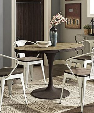 Modway Drive 47 Rustic Modern Farmhouse Kitchen And Dining Room Table With Oval Pine Wood Top And Iron Pedestal Base In Brown 0 300x360