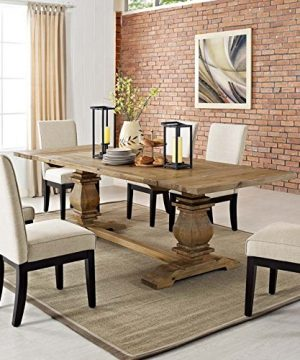 Modway Rise 73 To 103 Rustic Farmhouse Trestle Extendable Wood Kitchen And Dining Table In Brown 0 300x360