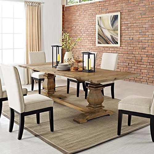 Modway Rise 73 To 103 Rustic Farmhouse Trestle Extendable Wood Kitchen And Dining Table In Brown 0